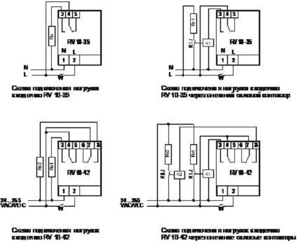 Стандартные схемы подключения реле